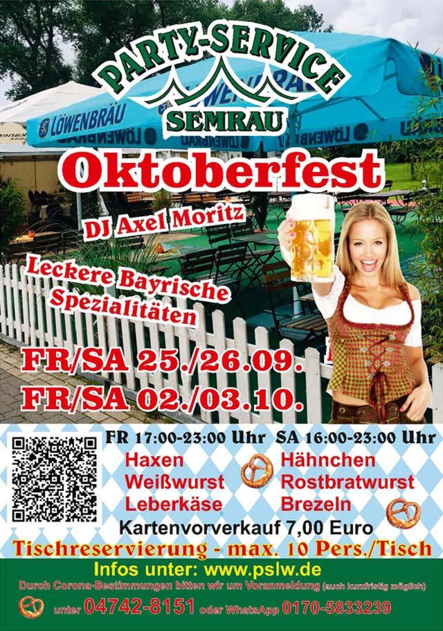 Flyer Oktoberfest 2020 im Biergarten bei Partyservice Semrau